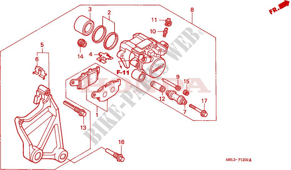 Deauville 650, étrier de frein arrière  ETRIER-DE-FREIN-ARRIERE-NT650VW-X-Y-1-Honda-MOTO-650-DEAUVILLE-1998-NT650VW-F__1200